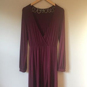 Deep V-neck burgundy dress